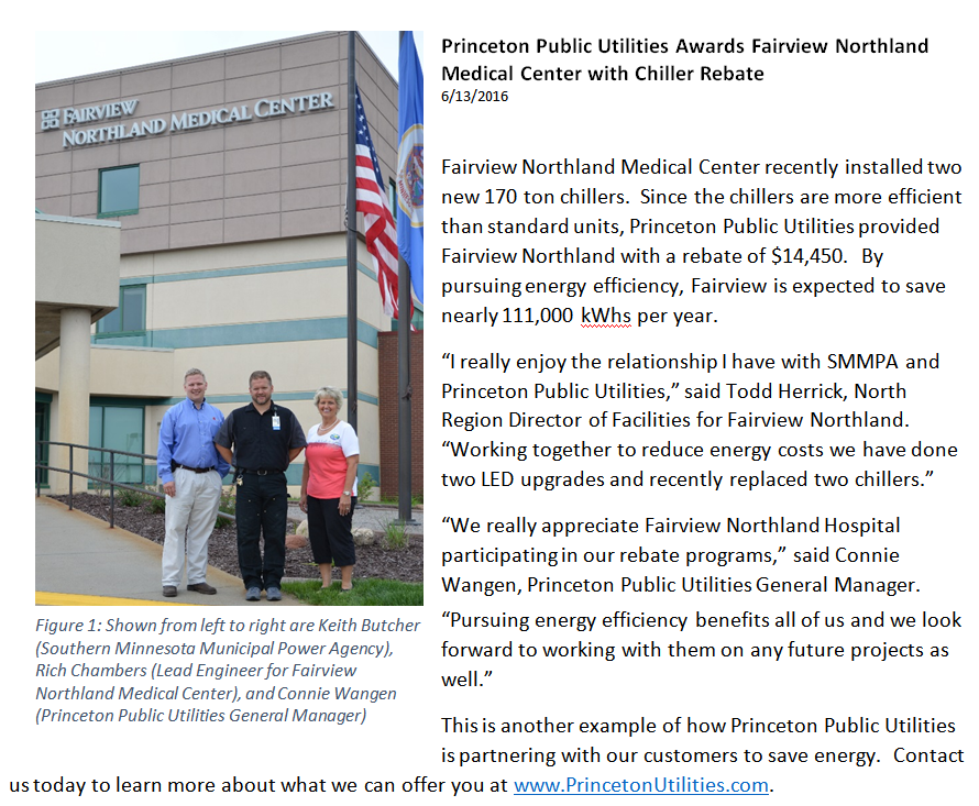 Princeton Public Utilities Awards Fairview Northland Medical Center with Chiller Rebate