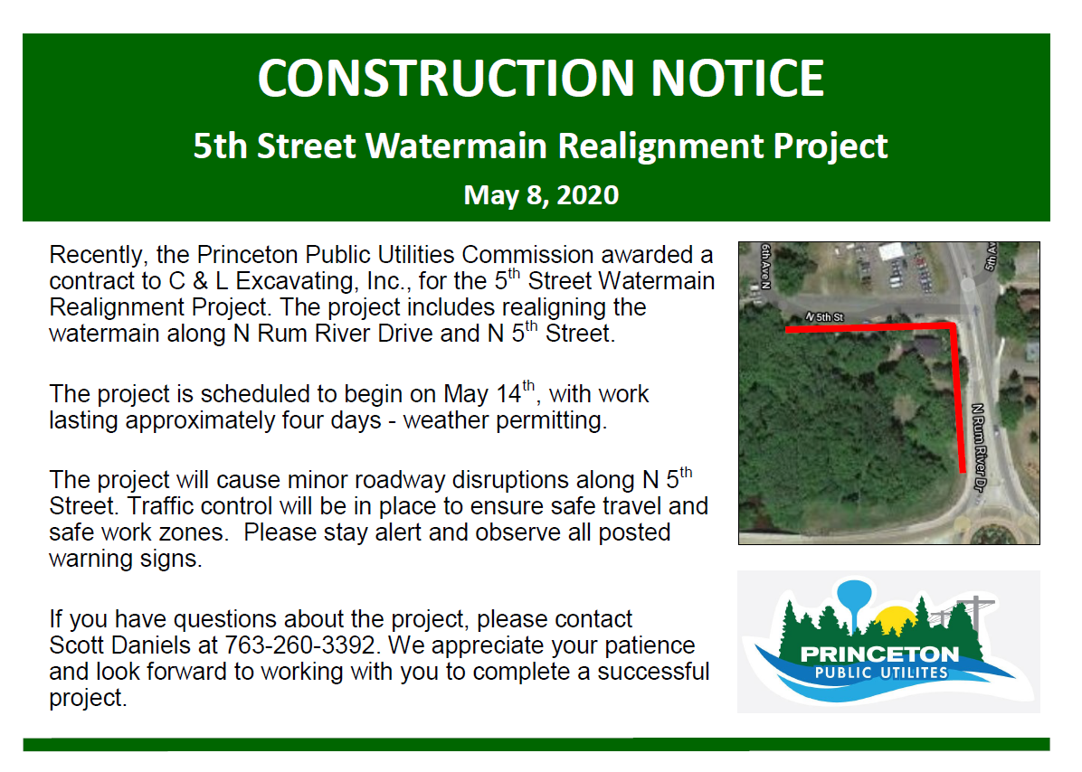 Fifth Street Watermain Re-Alignment Construction Notice